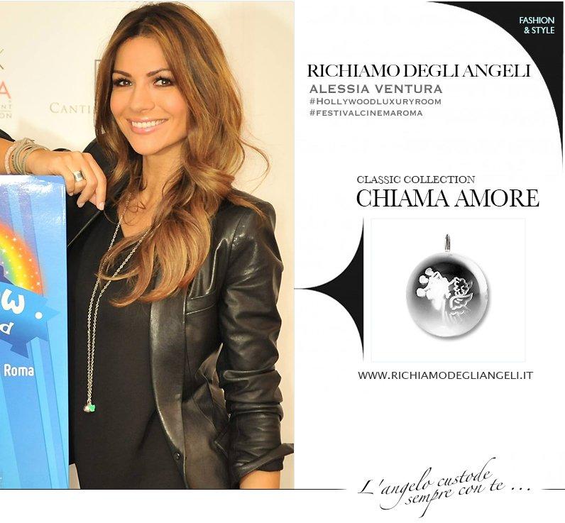 La Vip Alessia Ventura indossa Collana originale Richiamo Degli Angeli durante Festival del Cinema di Roma.