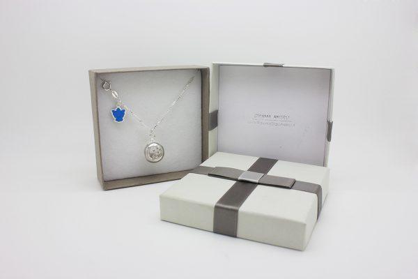 Collezione Classica ciondolo chiama angeli Bambino con collana lunga e angelo blu idea regalo perfetta per mamme che attendono un bambino.