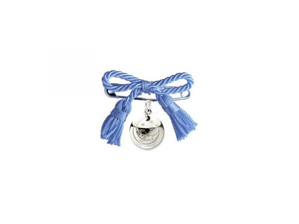 Spilla lieto evento con fiocco blu per nascita bambino, l'originale fiocco di nascita per maschietto da attaccare alla culla o al passeggino del neonato.