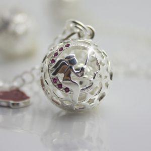Originale ciondolo Dolce Luna collezione Luxury con raffigurazione dell'angelo custode chiama angeli argento 925 per donne in gravidanza dal 3 mese di gestazione