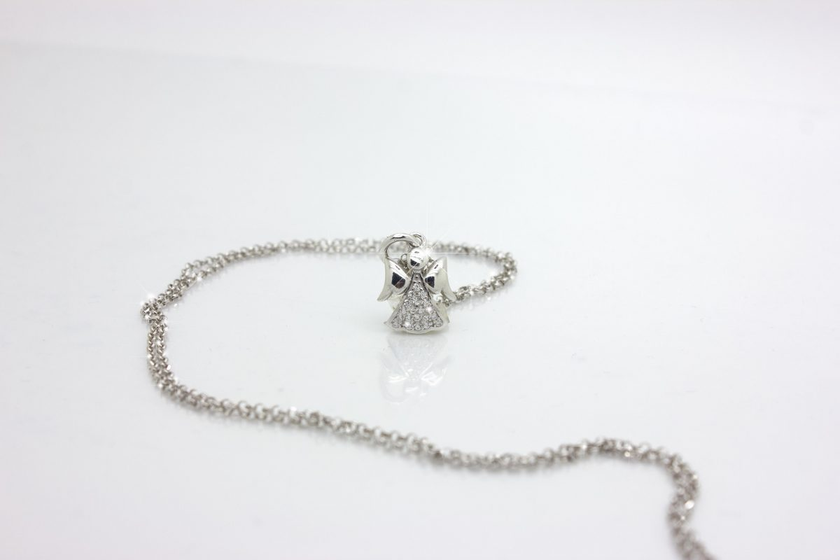 ciondolo angioletto con il nome argento 925 con diamante Collana Angelo Custode