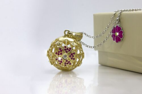 Originale ciondolo Fiore di Angelo in argento 925% bagnato in oro